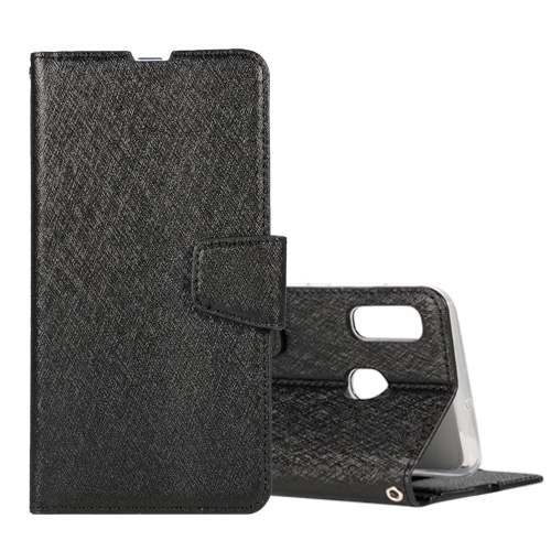 Silk Texture Horizontal Flip Leather Case for Huawei Y7 Pro (2019), with Holder & Card Slots & Wallet & Photo Frame (Black)