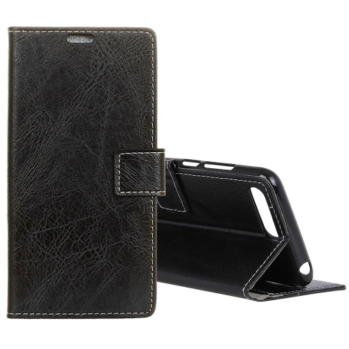 For Huawei Y6 2018 Retro Crazy Horse Texture Horizontal Flip Leather Case with Holder & Card Slots & Wallet & Photo (Black) contact s genuine crazy horse cowhide leather men wallets fashion purse with card holder vintage long wallet clutch wrist bag