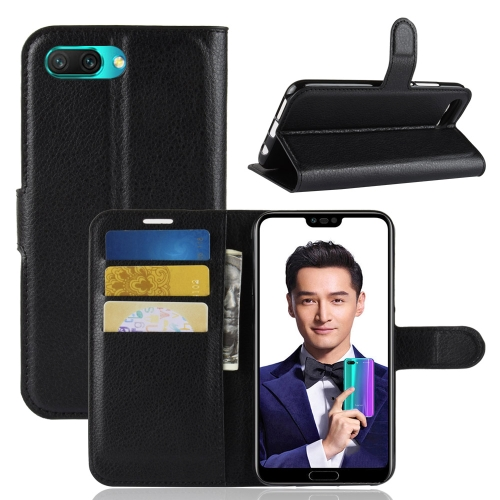 For Huawei Honor 10 Litchi Texture Horizontal Flip PU Leather Case with Holder & Card Slots & Wallet(Black)