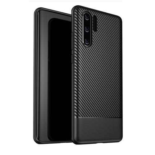 Lewei Series Carbon Fiber Texture TPU Protective Case for Huawei P30 Pro (Black)