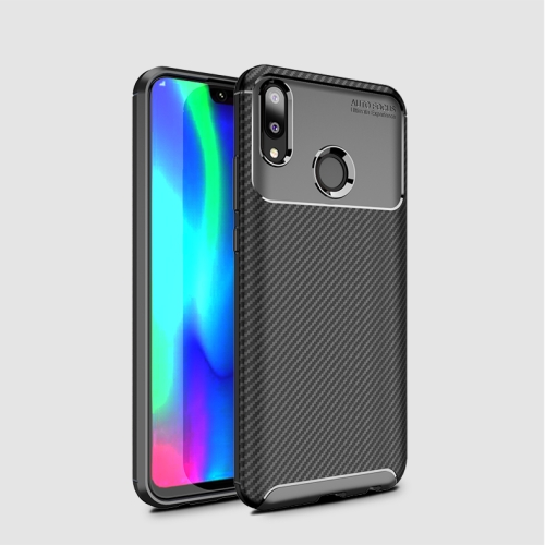 Carbon Fiber Texture Shockproof TPU Case for Huawei Y9 (2019) (Black)