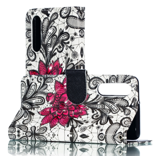 3D Lace Flower Pattern Horizontal Flip PU Leather Case for Huawei P30, with Holder & Card Slots & Wallet & Photo Frame
