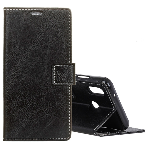Retro Crazy Horse Texture Horizontal Flip Leather Case for Huawei Honor 10 Lite, with Holder & Card Slots & Photo Frame (Black)