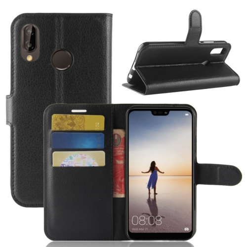 For Huawei P20 Lite PU + TPU Litchi Texture Horizontal Flip Leather Case with Wallet & Holder & Card Slots (Black)