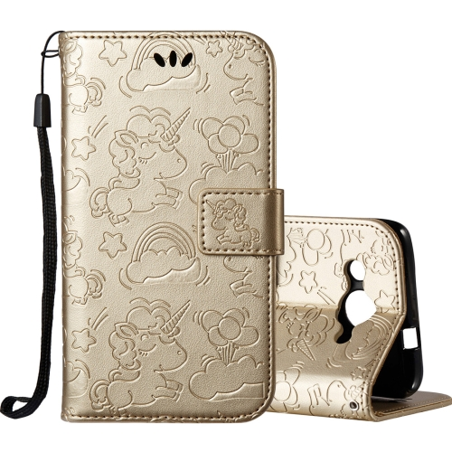 Buy Huawei Y3, 2017 Pressed Horse Cloud Print Horizontal Flip Leather Case with Holder & Card Slots & Wallet & Lanyard, Gold for $2.92 in SUNSKY store