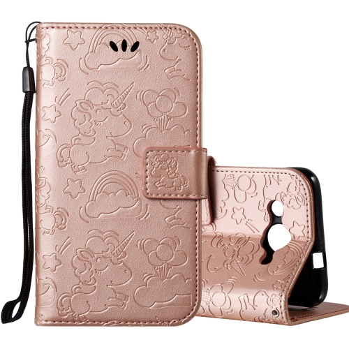 Buy Huawei Y3, 2017 Pressed Horse Cloud Print Horizontal Flip Leather Case with Holder & Card Slots & Wallet & Lanyard (Rose Gold) for $2.92 in SUNSKY store