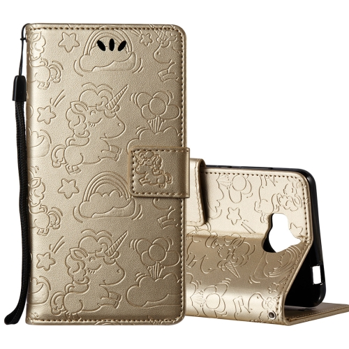 Buy Huawei Y5, 2017 Pressed Horse Cloud Print Horizontal Flip Leather Case with Holder & Card Slots & Wallet & Lanyard, Gold for $2.92 in SUNSKY store