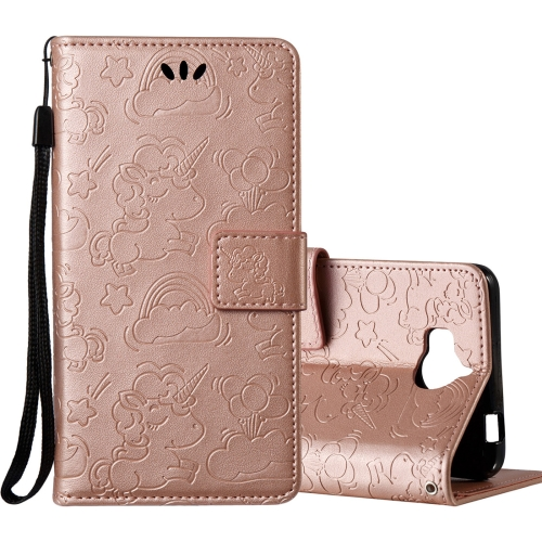 Buy Huawei Y5, 2017 Pressed Horse Cloud Print Horizontal Flip Leather Case with Holder & Card Slots & Wallet & Lanyard (Rose Gold) for $2.92 in SUNSKY store