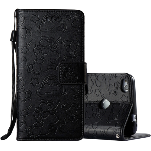 Buy Huawei Honor P8 Lite, 2017 Pressed Horse Cloud Print Horizontal Flip Leather Case with Holder & Card Slots & Wallet & Lanyard, Black for $2.92 in SUNSKY store