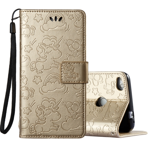 Buy Huawei Honor P8 Lite, 2017 Pressed Horse Cloud Print Horizontal Flip Leather Case with Holder & Card Slots & Wallet & Lanyard, Gold for $2.92 in SUNSKY store