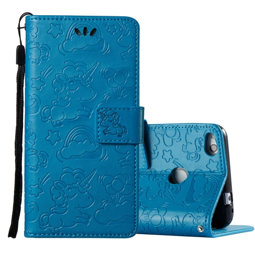 Buy Huawei Honor P8 Lite, 2017 Pressed Horse Cloud Print Horizontal Flip Leather Case with Holder & Card Slots & Wallet & Lanyard, Blue for $2.92 in SUNSKY store