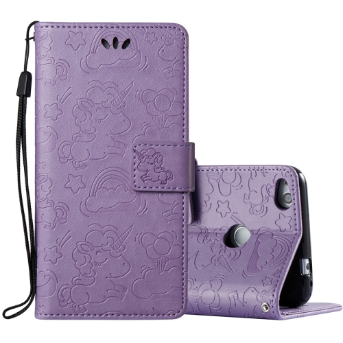 Buy Huawei Honor P8 Lite, 2017 Pressed Horse Cloud Print Horizontal Flip Leather Case with Holder & Card Slots & Wallet & Lanyard, Purple for $2.92 in SUNSKY store