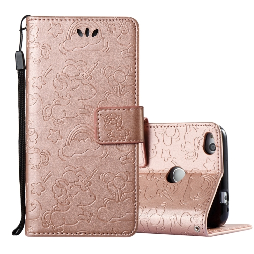 Buy Huawei Honor P8 Lite, 2017 Pressed Horse Cloud Print Horizontal Flip Leather Case with Holder & Card Slots & Wallet & Lanyard (Rose Gold) for $2.92 in SUNSKY store