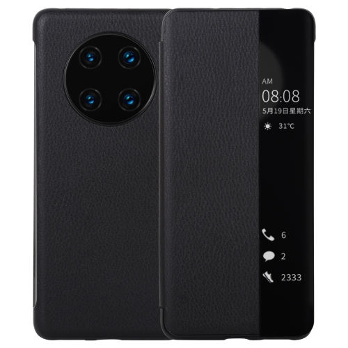 sunsky-online.com - 15% OFF by SUNSKY COUPON CODE: HAW3355 for For Huawei Mate 40 PU Leather Horizontal Flip Case, with Caller ID Display & Sleep / Wake-up Function(Black)
