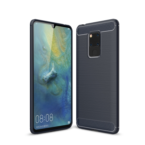 Brushed Texture Carbon Fiber Soft TPU Case for Huawei Mate 20 X(Navy Blue)