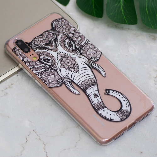 For Huawei P20 Tattoo Elephant Pattern Oil Embossed Soft TPU Protective Back Case