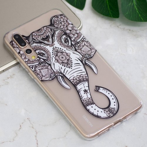 For Huawei P20 Pro Tattoo Elephant Pattern Oil Embossed Soft TPU Protective Back Case