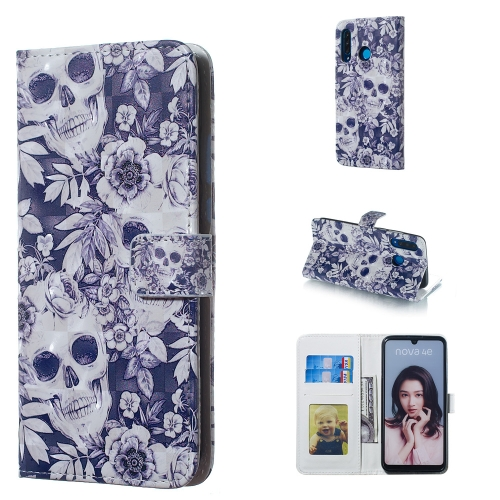 Skull and Flower Pattern 3D Horizontal Flip Leather Case for Huawei P30 Lite, with Holder & Card Slots & Photo Frame & Wallet