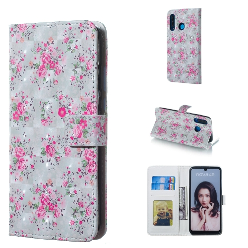Rose Pattern 3D Horizontal Flip Leather Case for Huawei P30 Lite, with Holder & Card Slots & Photo Frame & Wallet