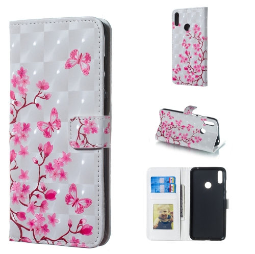 Butterfly Love Flower Pattern 3D Horizontal Flip Leather Case for Huawei Y7 (2019), with Holder & Card Slots & Photo Frame & Wallet