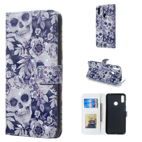 Skull and Flower Pattern 3D Horizontal Flip Leather Case for Huawei Y7 (2019), with Holder & Card Slots & Photo Frame & Wallet