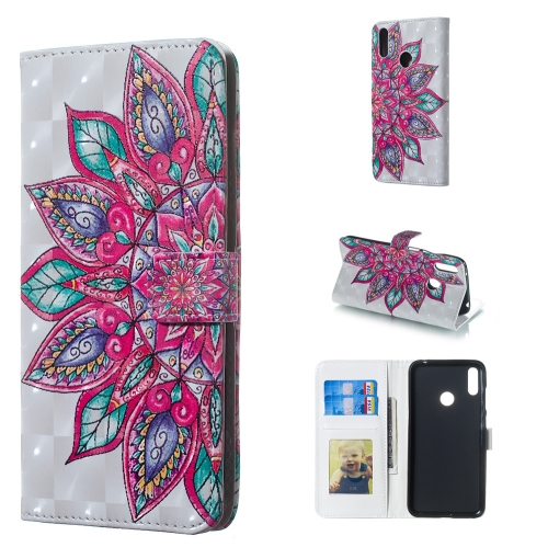 Half Flower Pattern 3D Horizontal Flip Leather Case for Huawei Y7 (2019), with Holder & Card Slots & Photo Frame & Wallet