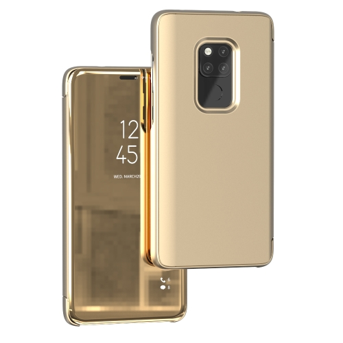 Mirror Clear View Horizontal Flip PU Smart Leather Case for Huawei Mate 20, with Holder (Gold)