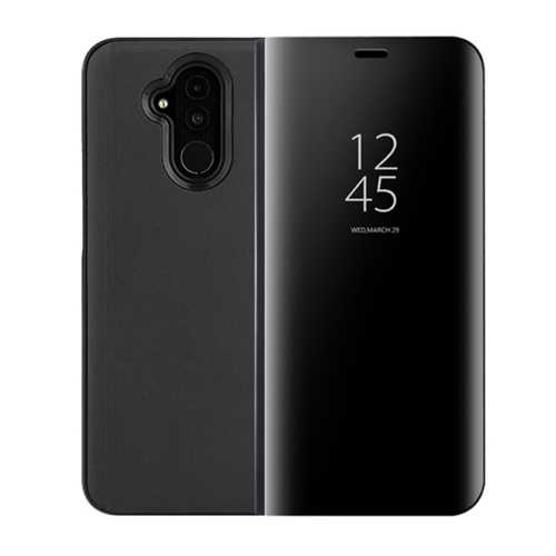 Mirror Clear View Horizontal Flip PU Smart Leather Case for Huawei Mate 20 Lite, with Holder (Black)