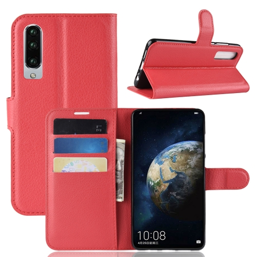 Litchi Texture Horizontal Flip Leather Case for Huawei P30, with Holder & Card Slots & Wallet (Red)