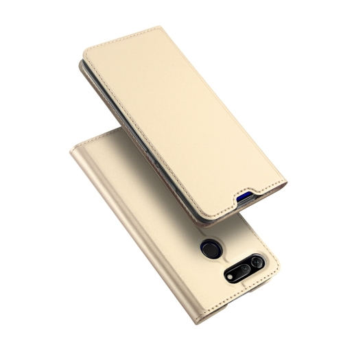 DUX DUCIS Skin Pro Series Horizontal Flip PU + TPU Leather Case for Huawei Honor View 20, with Holder & Card Slots (Gold)