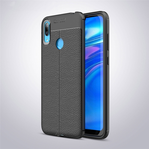 Litchi Texture TPU Shockproof Case for Huawei Y7 (2019) (Black)