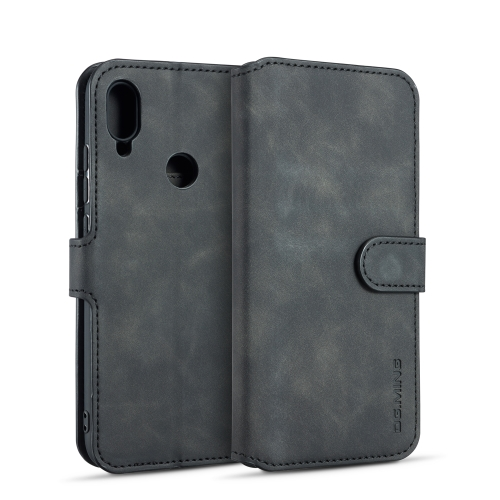 DG.MING Retro Oil Side Horizontal Flip Case for Huawei Y6 (2019), with Holder & Card Slots & Wallet (Black)