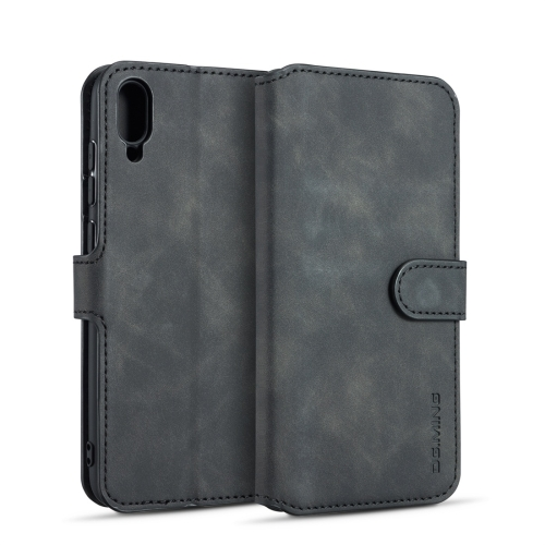 DG.MING Retro Oil Side Horizontal Flip Case for Huawei Y6 Pro (2019), with Holder & Card Slots & Wallet (Black)