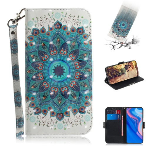 3D Colored Drawing Peacock Wreath Pattern Horizontal Flip Leather Case for Huawei P Smart Z / Y9 Prime 2019 / nova 5i, with Holder & Card Slots & Wallet