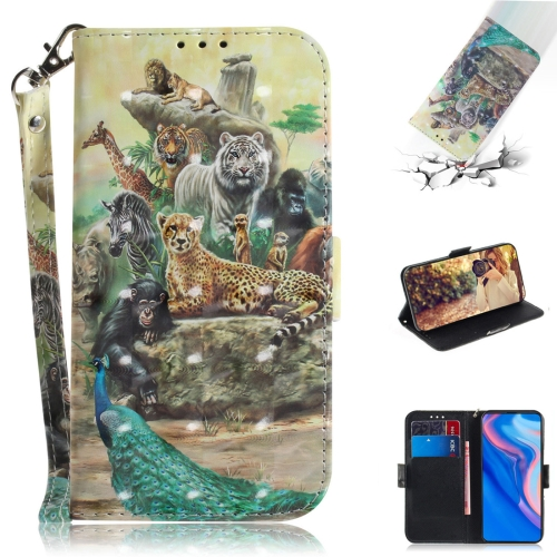 3D Colored Drawing Animals Pattern Horizontal Flip Leather Case for Huawei P Smart Z / Y9 Prime 2019 / nova 5i, with Holder & Card Slots & Wallet
