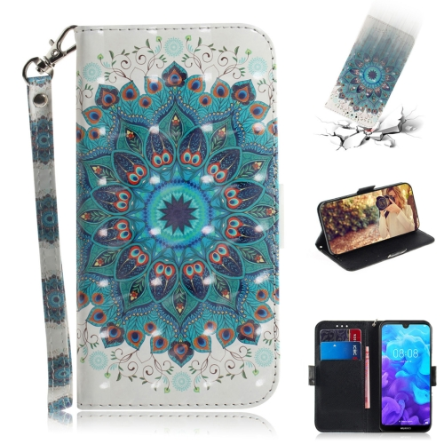 3D Colored Drawing Peacock Wreath Pattern Horizontal Flip Leather Case for Huawei Y5 (2019) / Honor 8s, with Holder & Card Slots & Wallet