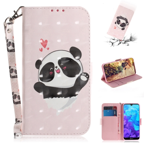 3D Colored Drawing Heart Panda Pattern Horizontal Flip Leather Case for Huawei Y5 (2019) / Honor 8s, with Holder & Card Slots & Wallet