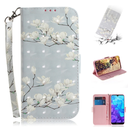 3D Colored Drawing Magnolia Pattern Horizontal Flip Leather Case for Huawei Y5 (2019) / Honor 8s, with Holder & Card Slots & Wallet