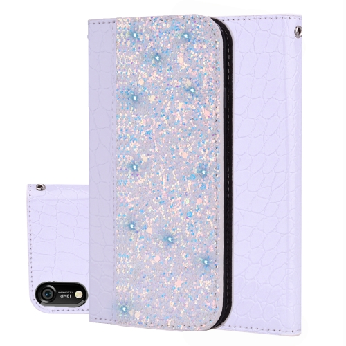 Crocodile Texture Glitter Powder Horizontal Flip Leather Case for Huawei Y6 (2019) / Y6 Pro (2019) /Honor Play 8A, with Card Slots & Holder (White)