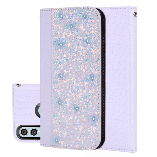 Crocodile Texture Glitter Powder Horizontal Flip Leather Case for Huawei P Smart (2019) / Honor 10 Lite, with Card Slots & Holder (White)