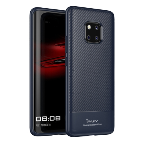 iPAKY Carbon Fiber Texture Soft TPU Case for Huawei Mate 20 Pro(Blue)