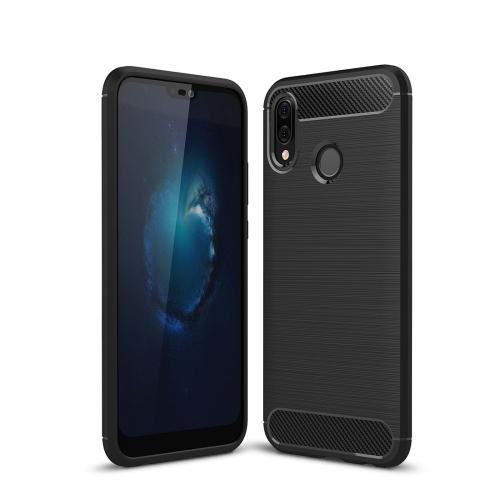 For Huawei P20 Lite Brushed Texture Carbon Fiber Shockproof TPU Protective Back Case (Black)