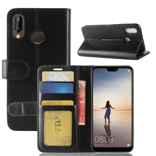 For Huawei P20 Lite PU + TPU Crazy Horse Texture Horizontal Flip Leather Case with Wallet & Holder & Card Slots (Black) contact s genuine crazy horse cowhide leather men wallets fashion purse with card holder vintage long wallet clutch wrist bag