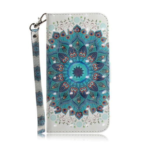 Peacock Wreath Pattern 3D Coloured Drawing Horizontal Flip Leather Case for Huawei P30 Pro, with Holder & Card Slots & Wallet