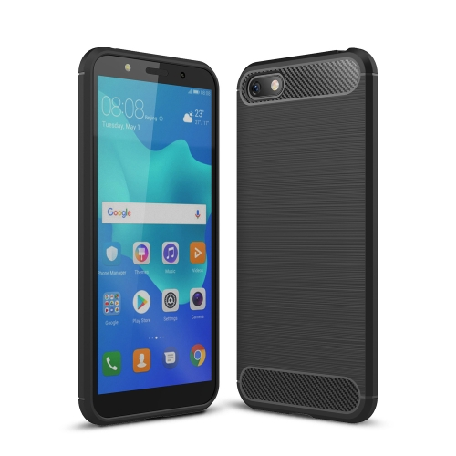 Brushed Texture Carbon Fiber Shockproof TPU Case for Huawei Y5 Prime (2018) / Honor 7s(Black)