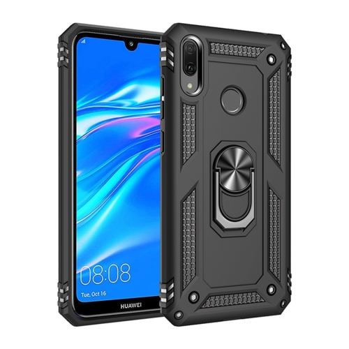 Armor Shockproof TPU + PC Protective Case for Huawei Y7 (2019), with 360 Degree Rotation Holder (Black)