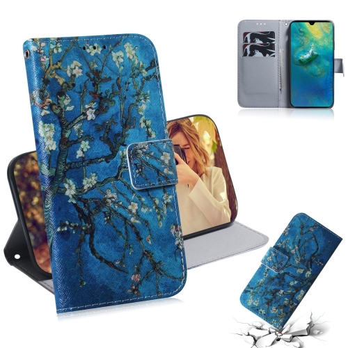Apricot Flower Pattern Coloured Drawing Horizontal Flip Leather Case for Huawei Mate 20, with Holder & Card Slots & Wallet