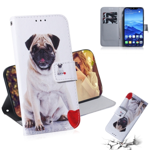 Pug Pattern Coloured Drawing Horizontal Flip Leather Case for Huawei Mate 20 Lite, with Holder & Card Slots & Wallet