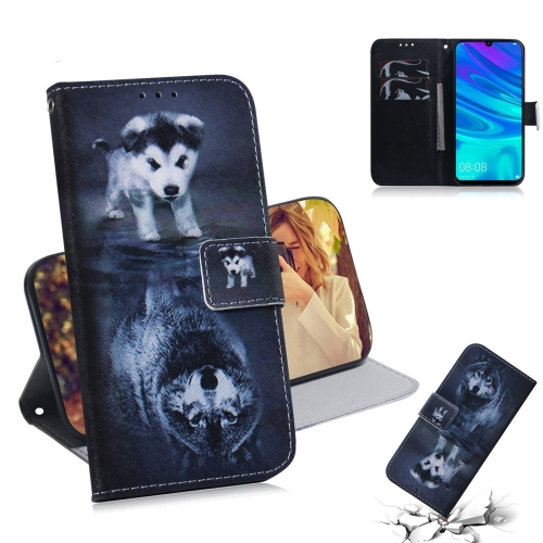 Wolf and Dog Pattern Coloured Drawing Horizontal Flip Leather Case for Huawei P Smart (2019) / Honor 10 Lite, with Holder & Card Slots & Wallet