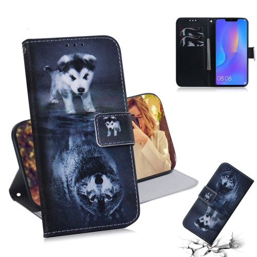 Wolf and Dog Pattern Coloured Drawing Horizontal Flip Leather Case for Huawei P Smart+ 2019 / Nova 3i, with Holder & Card Slots & Wallet